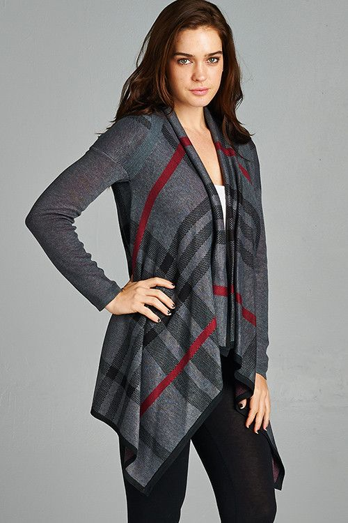 Charcoal Burberry Inspired Cardigan
