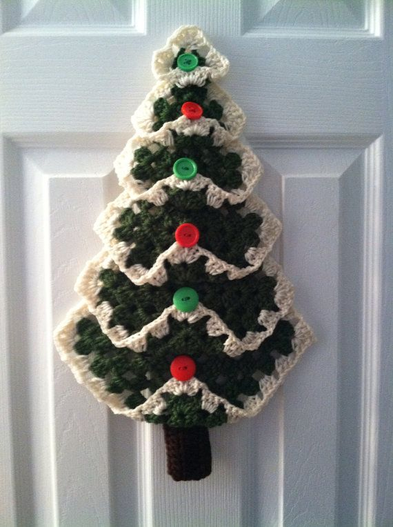Free Crochet Granny Square Christmas Tree Pattern : Granny Square Christmas Tree by TheLadybugCrochet on Etsy ...