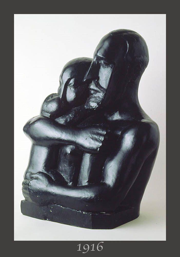 "The ""THE FAMILY"" (1916) realized by CHANA ORLOFF (1888-1968) - Ukrainian sculptor of the movement ""ECOLE DE PARIS"" (all artists between 1905 and 1939) ... Orloff works with his friends, young painters and sculptors: Modigliani, Soutine, Foujita, Kahlo, Chagall, Rivera, Indenbaum, Bourdelle, Brancusi, Valadon, Kikoine, Bugatti, Laurencin, Matisse, Miro, Picasso, Leger, Archipenko, Bonnard, Lipchitz, Utrillo, Laurens … Bronze ""The family"": Museum mahJ - Paris.  28 x 20.8 in. (72 x 53 cm)"
