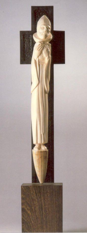 St. Augustinus van Hippo. -  < 1986. Ivoren sculptuur door Leo Coppens osa België, Heverlee.