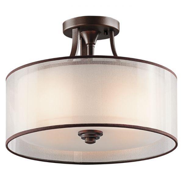 Plafon LAMPA sufitowa KL/LACEY/SF MB Elstead KICHLER metalowa OPRAWA abażurowa brązowy biały