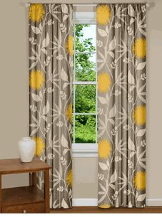 Modern Floral Curtains In Thomas Paul Dahlia Flowers Dove