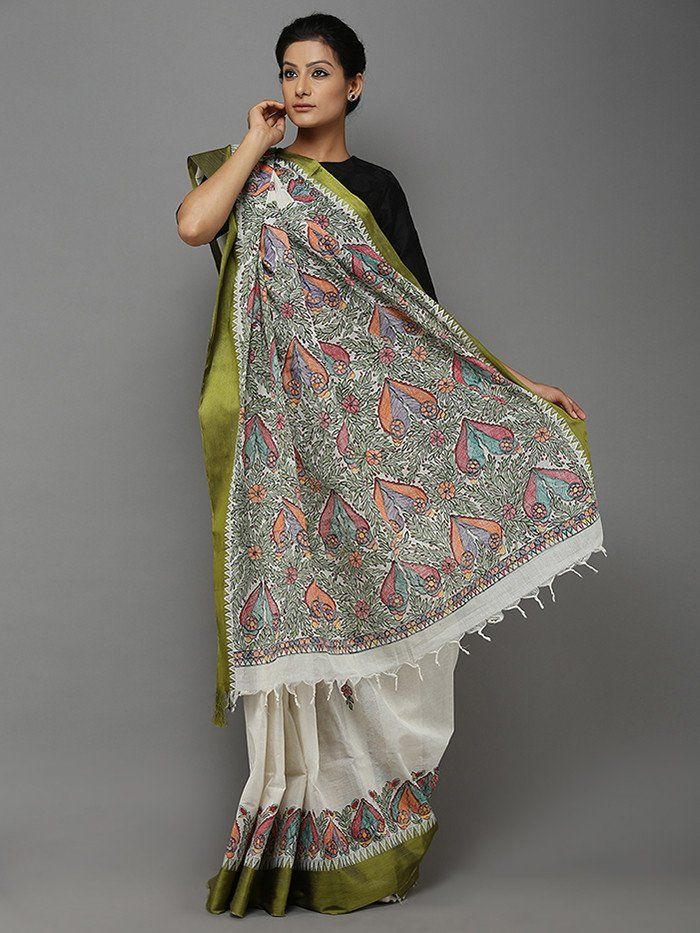 Off White Green Hand Painted Madhubani Cotton Saree