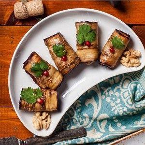 Рулетики из баклажана с ореховой пастой и аджикой