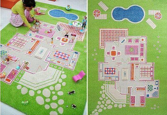 Świetny pomysł na dywan do pokoju dziewczęcego. Po co zastawiać pokój domkiem dla lalek skoro można go mieć na dywanie?