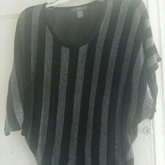 Cavi Metallic Silver/Black Top...Sz: Medium Sz: Medium  Color: Metallic Silver/Black  In Great Condition  This is a nice Billowy Top that can be dressed up or down Cavi Tops