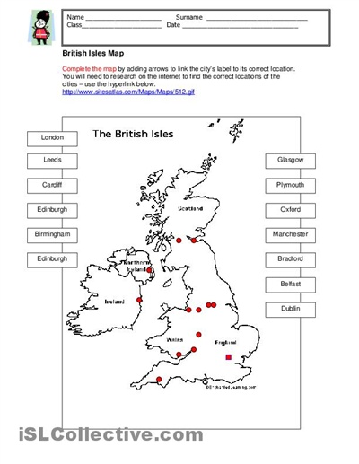 Get to know the geography of the UK: locate the main cities on the map. Suitable for ESL classroom.