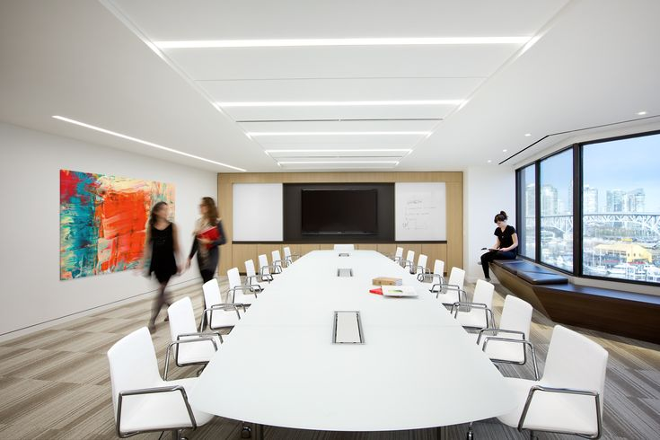 SSDG Interiors Inc.   workplace executive office: Financial Institution. Bright and modern interior design of an office in Vancouver. Conference room / boardroom with media wall.