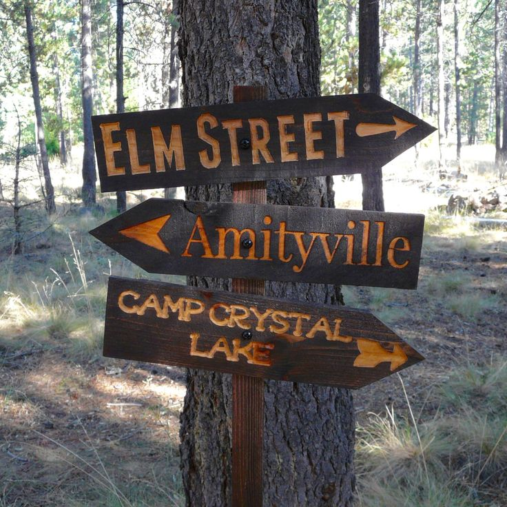 Decisions Halloween Lawn Ornament Sign - Amityville Friday the 13th Nightmare Elm Street Horror Movie Decoration - Cedar Wood Holiday Decor by BendHouseofTrees on Etsy https://www.etsy.com/listing/247389747/decisions-halloween-lawn-ornament-sign