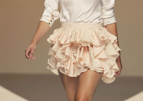 fun, ruffled skirt in pale pink
