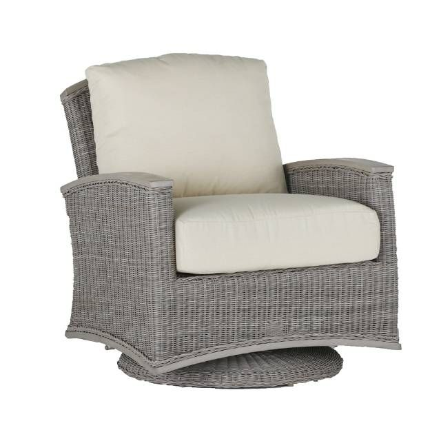 Designed with elegance and comfort in mind, the Astoria Wicker Swivel Glider with Cushions by Summer Classics transforms your outdoor space into an    inviting oasis. This Parsons-style glider features a blend of proprietary N-Dura resin wicker and superior-grade extruded aluminum, offering maximum    durability and transitional flair. Each Oyster Gray wicker glider is handwoven and individually finished with an antiqued application and fine braiding    detail. Glider frame is generously ...