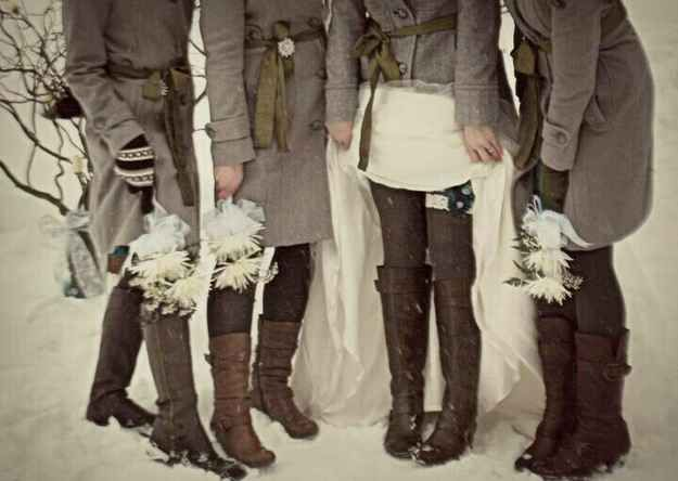 Don't freeze your bridesmaids either! I keep seeing pics of brides with furs and bridesmaids still in short strappy dresses! Poor girls! Give them a long skirt or something that is OK with stockings and boots or enclosed shoes,  and some kind of sleeve, coat or cardigan.