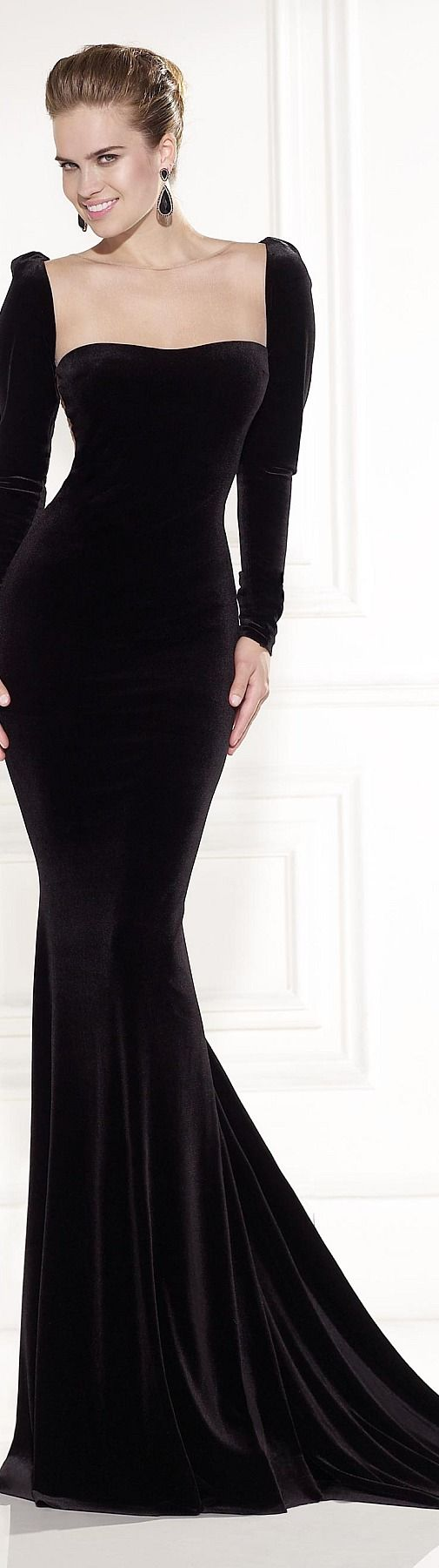 Very simple and to the point black long sleeve evening gown.