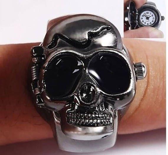 Finger ring watch skull ring watch gothic ring watch unisex