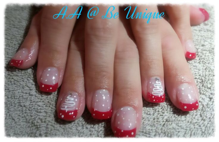Nails done by Angelique Allegria. #French #red #Christmas #tree #dots #BeUnique @angiedsa