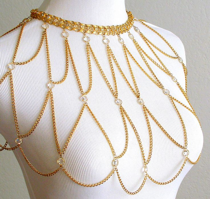 Vintage Body Chain Necklace Shoulder Capelet Gold by retrogroovie