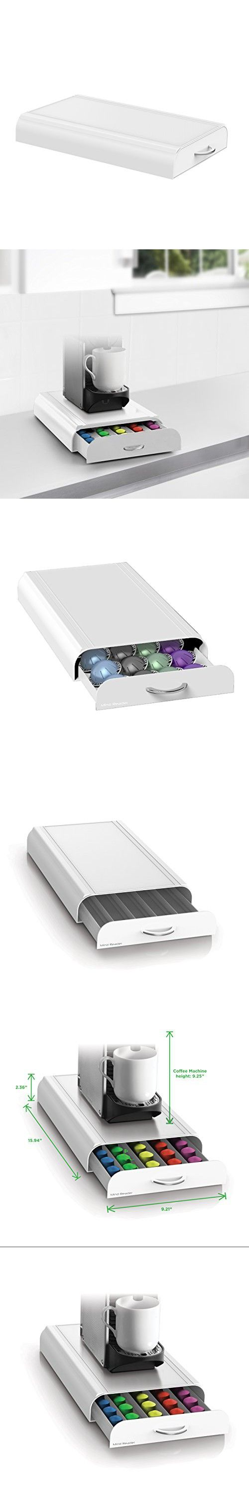 Mind Reader Anchor' Coffee Pod Storage Drawer for 50 Nespresso Capsules, White