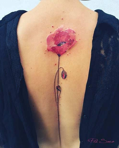 27 Breathtaking Watercolor Flower Tattoos: #16. WATERCOLOR POPPY FLOWER; #watercolortattoo; #flowertattoo; #tattoos