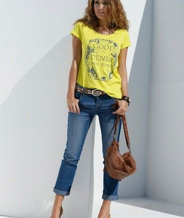 Tricouri ieftine: Tricou femei galben JOHN BANNER