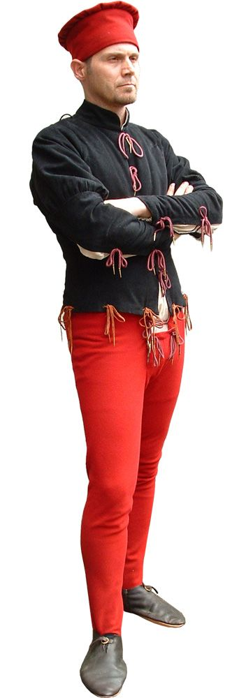 stitedesco.jpg (332×1000) Farsetto, shirt, tights and hat Includes: 246.00 - doublet with lace lined in linen 50.40 - Shirt Model-B- 123.60 - Calzebraghe fifteenth century. 25.20 - Panties C 19.20 - Belt Model-CF 42.00 - Capitanesca or hat choice