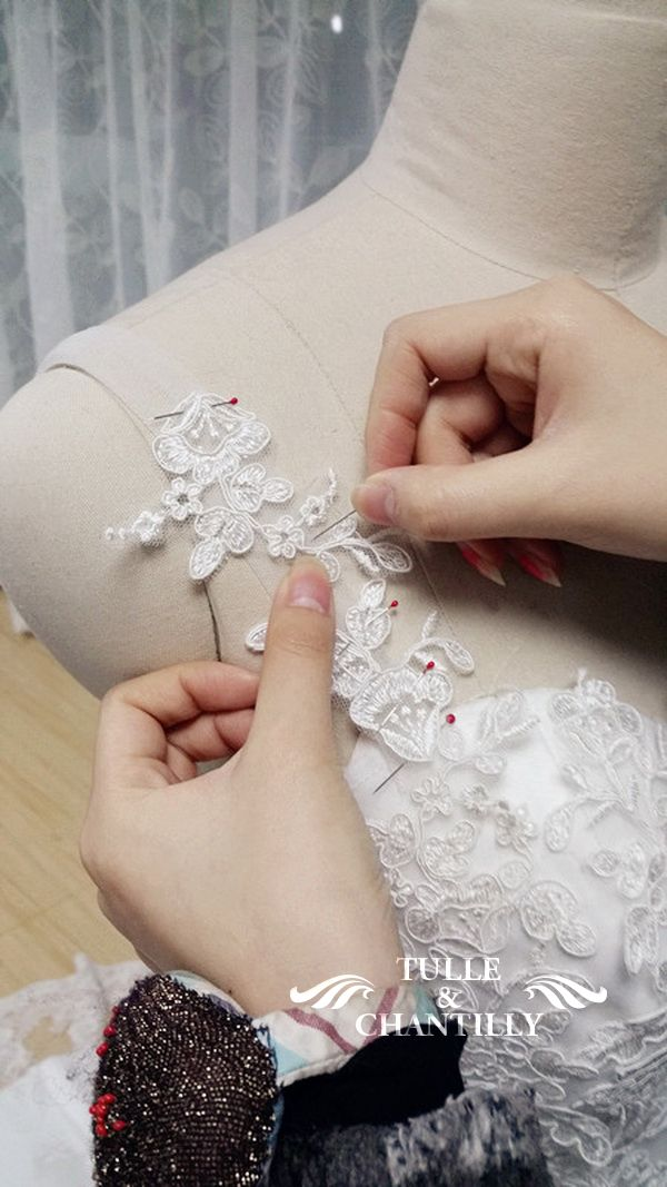 handmade bridal gown lace floral strap details