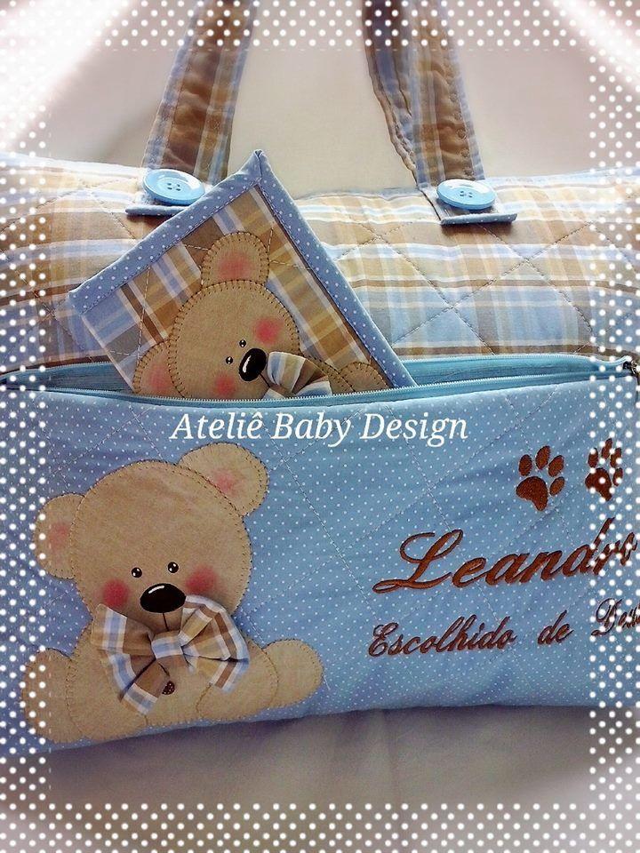 Bolsa maternidade em tecido 100% algodão, personalizada, quiltada, bordada, aplique em patchcolagem. Escolha seu tema e cor.