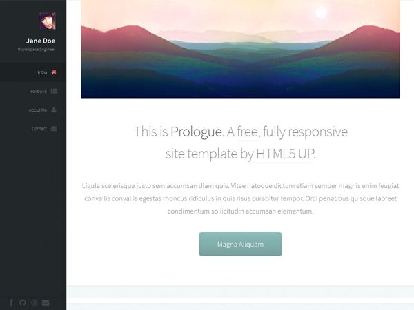 Prologue is free #html #theme, perfect for creative people, #freelancers or agencies. Demonstrate your work, projects and skills, offer your services, highlight stories from your career and write something nice on your #blog.