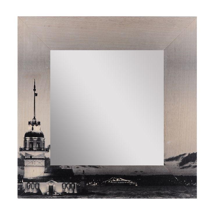 Kız Kulesi Ahşap Çerçeveli Akrilik Ayna