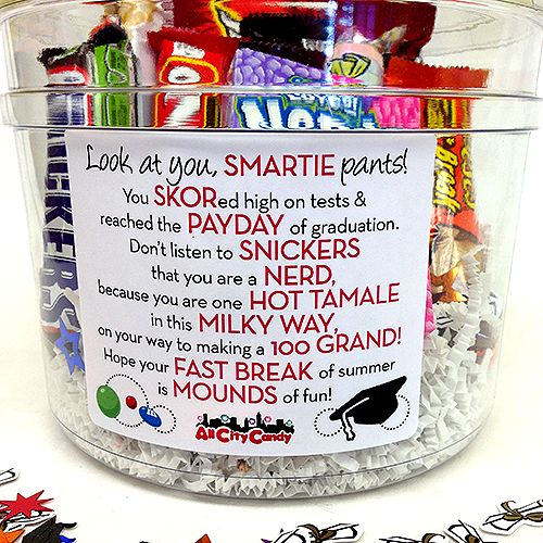 Makes a fun and unique graduation gift for high school, college, and beyond! A clear plastic bucket is filled with 10 different candies that are featured on a cute congratulatory poem on the front of the bucket. Contents: -Smarties Big Roll -Skor Candy Bar -PayDay Candy -Snickers Candy Bar -Nerds Box -Hot Tamales Theater Box -Milky Way Candy Bar -100 Grand Candy Bar -Reese's Fast Break Candy Bar -Mounds Candy Bar -Graduation Confetti.  Please see our Warm Weather Policy for shipping details