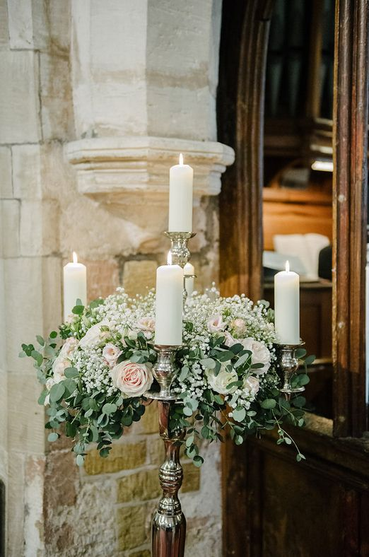 Large Floor Standing Candelabra Blush Pink Roses Eucalyptus Foliage Packwood Church Wedding Flowers Passion for Flowers. See more of our floral creations at www.passionforflowers.net