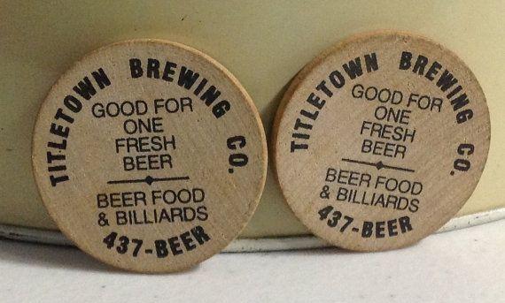 Beer Brewery Advertising Wooden Nickle by OldFleaToyMarket on Etsy