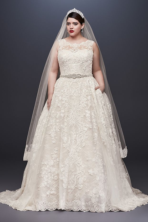 Lace Plus Size Wedding Dress with Pleated Skirt Style 8CWG780, Ivory ...