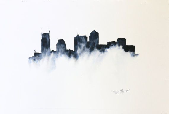Original Nashville skyline watercolor artwork by ShaneArtistry