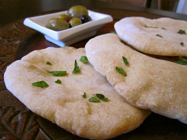 PITA POCKETS! 1c + 1T warm water 1.5t tsp yeast 1.5t sugar  1T olive oil 0.5c whole wheat flour 2.5c AP 1t salt