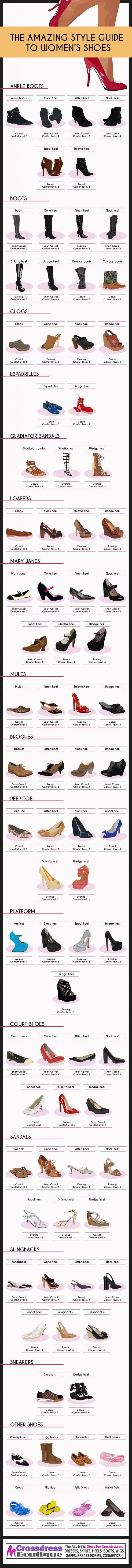 The crossdresser style guide to all types of footwear. http://www.crossdressboutique.com/tgirl/shoes-boots-hosiery/