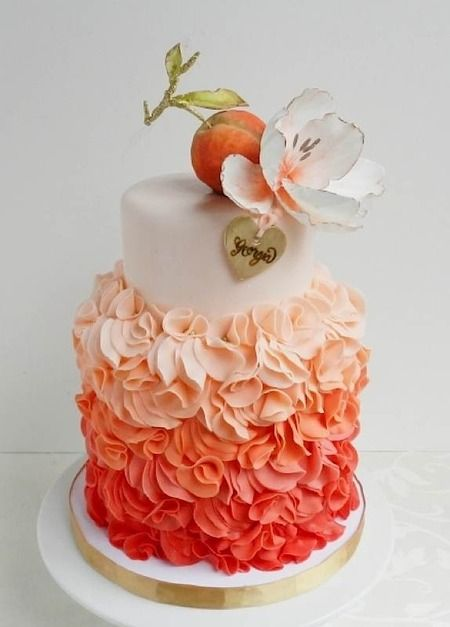 Peach inspired wedding cake