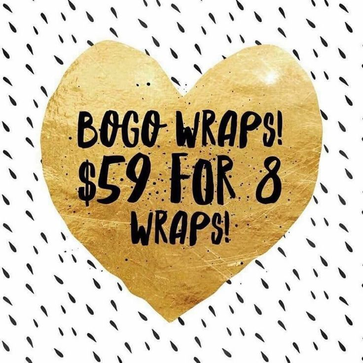 Get ready for summer!!! BOGO wrap sale extended through Monday!!!! Two boxes of wraps for $59 !!!! What the what???!! Message me ! 615-630-4993