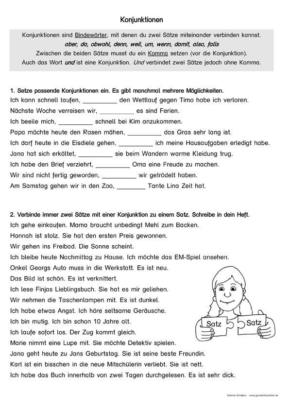 konjunktionen kostenloses arbeitsblatt schule school und words. Black Bedroom Furniture Sets. Home Design Ideas
