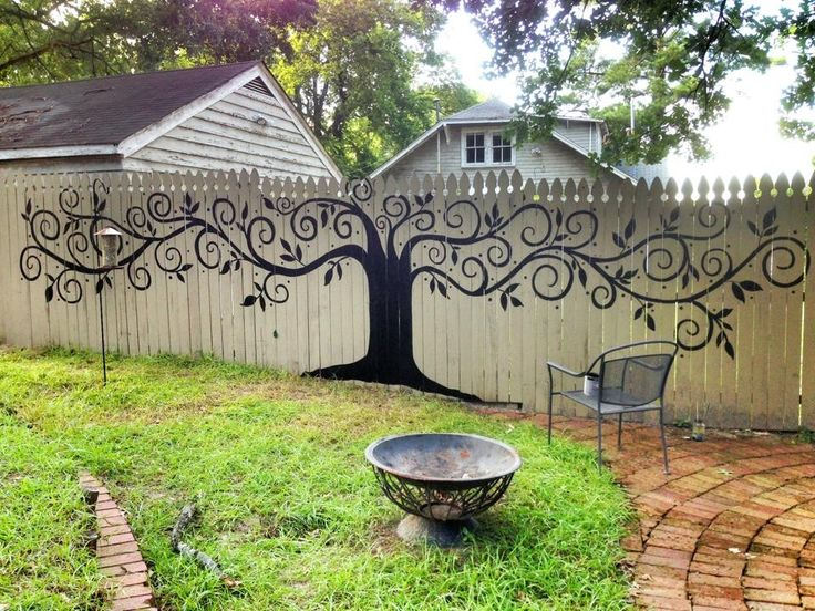 I been wanting to paint something on the fence, I LOVE this. Easy up keep, not too crazy. DOING IT!