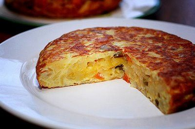 Easy Spanish Omelet (Tortilla Espanola)  is the most commonly served dish in Spain. It is also called Tortilla de Patata (Potato Omelet.) Bars and cafés serve it as a tapa or appetizer, but it is often served as a light dinner in Spanish homes. ♥ All About Foods Court