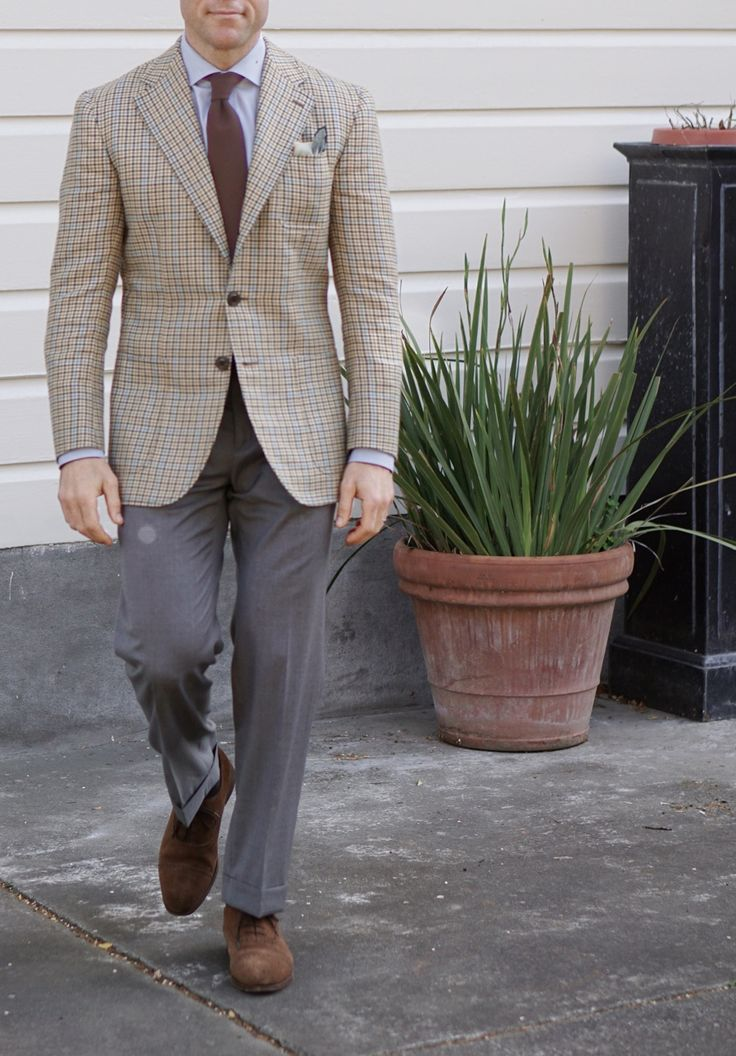 Gun club check sport coat, light blue shirt, brown tie, grey pants