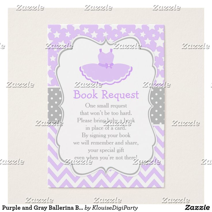 Purple and Gray Ballerina Baby Shower Book Request Business Card