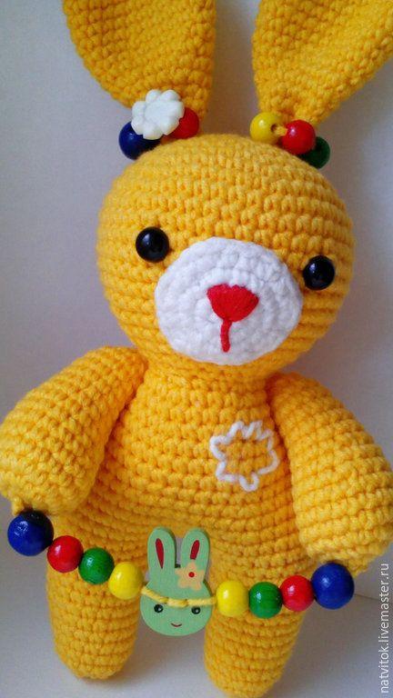 Купить Заюшка со скакалкой,развивающая игрушка для малышей вязаный крючком - жёлтый кролик игрушка amigurumi yellow crochet bunny
