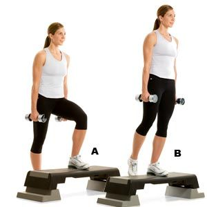 Step Up- Grab a pair of dumbbells and stand up to 2 feet from a step or exercise…
