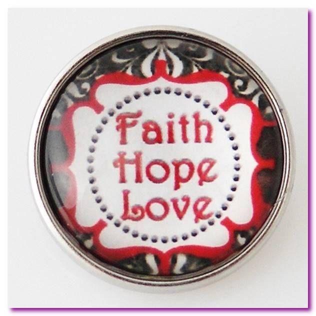 Snaps Charm Pop for Chunk Bracelet Glass FAITH LOVE HOPE Jewelry #Unbranded #ChunkSnapPopGinger