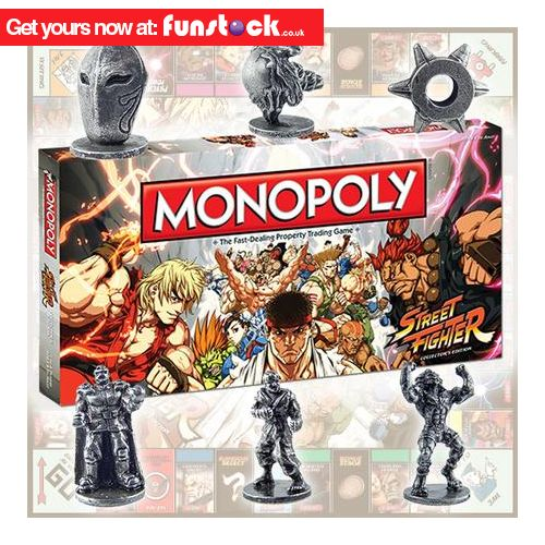"""Street Fighter-themed Monopoly! Perfect for gamers - and something the whole family can join in on. Classic Monopoly fun with Street Fighter board and custom figurines.  http://www.funstock.co.uk/street-fighter-monopoly-special-edition  Use code """"PINFUN"""" for 5% off!  #retrogaming #games #streetfighter #monopoly #xmas #christmas #giftideas #gaming #gamergifts"""