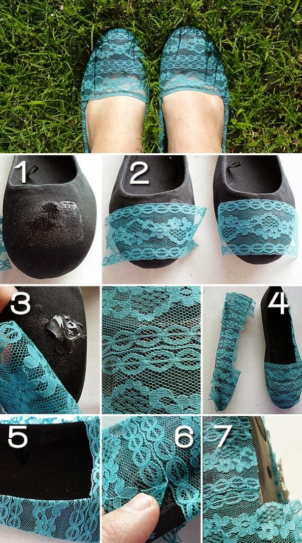 Add Lace To Your Old Pair Of Flats. Cute! Might try this on my little girls shoes.