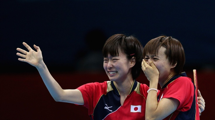 Japan celebrates during women's Team Table Tennis semifinal match