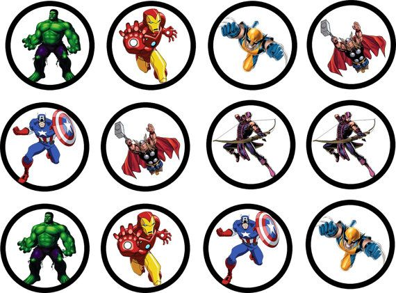 AVENGERS 2Inch printable cupcake toppers/avengers birthday on Etsy, $5.00