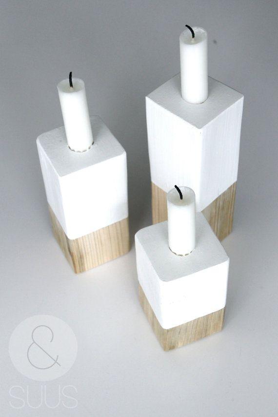 Mooie set van 3 handgemaakte houten witte kandelaren